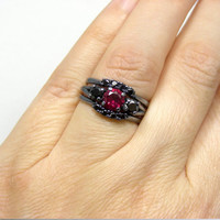 Black Engagement Ring | 1ct Blood Red Ruby & Black CZ Three Ring Set Black Sterling Silver Oxidized Rings | Size 5-10