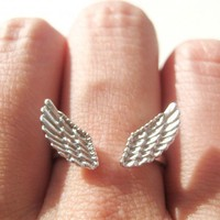 Feather Angel Wings Adjustable Ring in Silver | dotoly - Jewelry on ArtFire