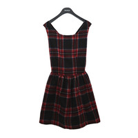 Checkered Red Crossback Dress
