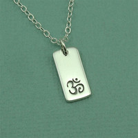 Om Tag Necklace - sterling silver om charm charm necklace - zen jewelry - yoga gift