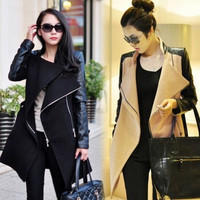 Women¡¯s Leather Woolen Long design Trench coat Overcoat Jacket Parka Outwear = 1956442308