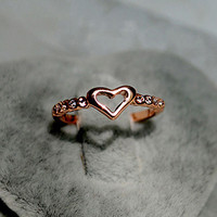Hollow Heart and CZ Ring