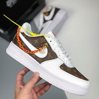 "Louis Vuitton LV x Nike Air Force 1 ""Custom"" Low-Top Classic Wild Casual Sneakers"