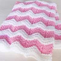 Pink White Baby Blanket, Hand Knit Warm Ripple Afghan Throw, Newborn Girl Shower Gift, Toddler Child Stroller Cover, New Spring Coming Home