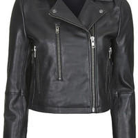 Neat-Fit Leather Biker Jacket by Boutique - Black