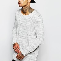 ASOS Super Longline Long Sleeve T-Shirt With Drape Neck And Stepped Hem In Grey