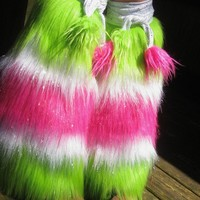 Lime Green White & Hot Pink Rave Leg Warmers by phunkyphashions