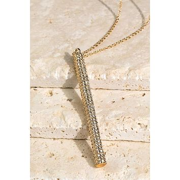 Long Pave Bar Pendant Necklace