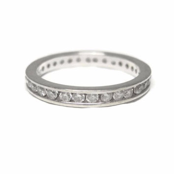 Vintage Sterling Zirconia Eternity Band Ring Size 4