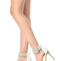 Neon Yellow Color Blocked Ankle Strap Single Sole Heels