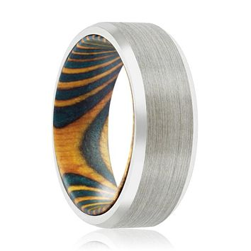 NORTON Tungsten Silver Beveled with Green and Yellow Box Elder Inside Wood Ring