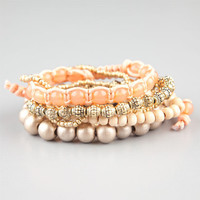 Full Tilt 6 Pack Peach/Gold Bead Bracelets Peach One Size For Women 24483870601