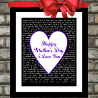 Mothers Day Gift : Personalized 8x10 Custom Song Lyric Art Print - You Choose Colors and Song. From Daughter To Mum, Mommy