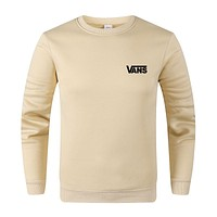 Vans Autumn And Winter New Fashion Bust Side Letter Print Women Men Long Seeve Top Sweater Beige&Yellow