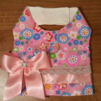 Dog harness vest - dog clothing - custom made dog clothes - handmade pet clothes - cute pink harness vest with cute pink bow