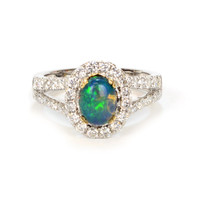 Opal and Diamond Halo Ring in 14k White Gold