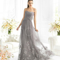 Charming A-line Scoop Neckline Sweep Train Prom Dress with Appliques  from SinoAnt