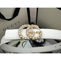 Gucci Classic Diamond Pearl Double G Letter Ladies Small Leather Belt