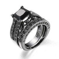 Vintage Cubic Zirconia Two Band Black Rings
