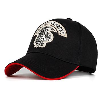 2018 new Baseball Cap SOA Sons of Anarchy Skull Embroidery Casual Snapback Hat Fashion High Quality Racing Motorcycle Sport Men's Baseball Caps