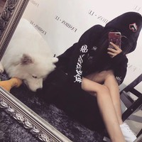 """""""Chrome Hearts"""" Women Casual Personality Horseshoe Letter Print Loose Long Sleeve Pullover Hooded Sweater Tops"""