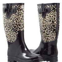 Women's Rubber Rain Boots Lined Mid Calf Hunting Style (Animal Black)