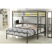 Collegiate collection dark gunmetal finish metal frame twin over twin or full bunk bed with desk - Sears
