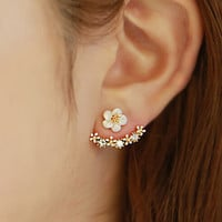 Korean Style Cute Gold/Silver Crystal Flower Ear Piercing Stud