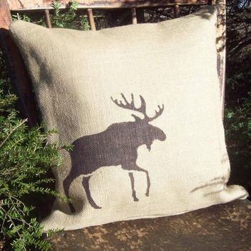 Burlap Moose Decorative Pillow Cover 16 x 16 / Moose Pillow / Cabin and Lodge Decor / Winter Decor