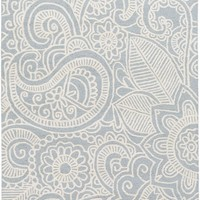 Queensland Floral and Paisley Area Rug Gray