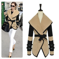 Fashion Women Cozy Coat Turn-down Collar Big Lapel Outwear Belted Trench Coat Khaki and Black
