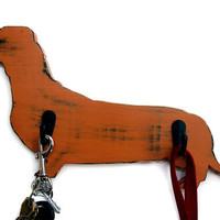 Dachshund Dog Leash Holder (Pictured in Rust) Pine Wood Sign Wall Decor Rustic Americana French Country Chic