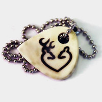 Buck Doe Heart Necklace on Cow Bone