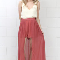 High Waist Caped Maxi Shorts {Dk. Salmon} - Size LARGE