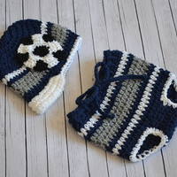 Newborn Baby Boy Soccer Ball Hat and Diaper Cover - Photography Prop, Crochet Baby Boy Sports Hat Set