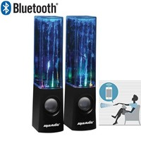 AquaAudio Bluetooth Water Dancing Speakers - LED Light Watershow with Water Jets / Universal Stereo Speakers for Desktop PC Computers, Mac, Laptops, iPod, iPad, Tablets, Cell Phones & All Devices with Bluetooth Capability (Black)
