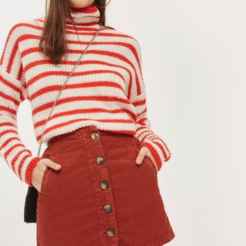 MOTO Button Cord Skirt - New In Fashion - New In