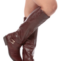Brown Faux Leather Knee High Strapped Riding Gal Boots