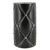 """3"""" x 6"""" Black Quilted Metallic Candle with Bling 