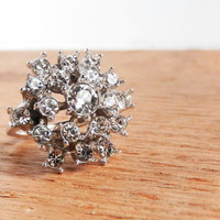 Rhinestone Ring  Vintage Silver Tone Size 65 by MaejeanVINTAGE