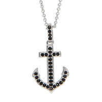 Dear Deer White Gold Plated Cute Black Anchor Pendant Necklace