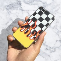 Checkerboard Flame iPhone Case