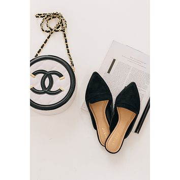 In The Office Faux Suede Mules (Black)
