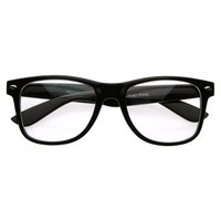 zeroUV - Standard Retro Clear Lens Nerd Geek Assorted Color Horn Rimmed Glasses (Black)