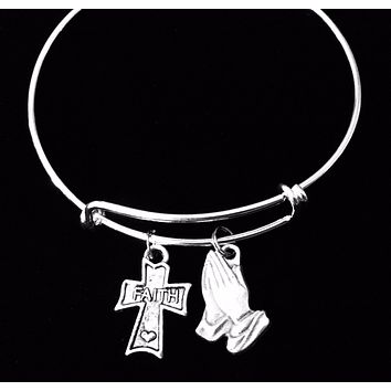 Faith Expandable Charm Bracelet Adjustable Silver Stackable Bangle Trendy One Size Fits All Gift