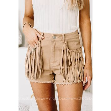 Here For The Cowboys Fringe Shorts