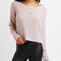 Ribbed Dolman Cropped Sweater