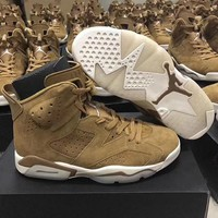 Authentic Air Jordan Retro 6 Golden Harvest Basketball Shoes All Wheat Suede Sneakers