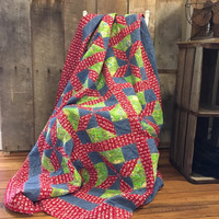 Vintage Patchwork Quilt Red, Blue Jean Color, Bright Green, Pinwheel Pattern, Bright and Colorful Quilt, Rustic, Cabin, Country, Homemade