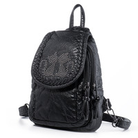 Women's Girls Washed Leather 4-way Convertible Tear Drop Small Backpack Shoulder Chest Bag Sling Purse